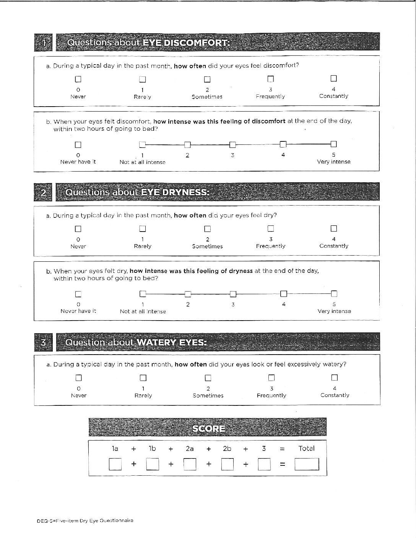 Dry Eye Questionnaire